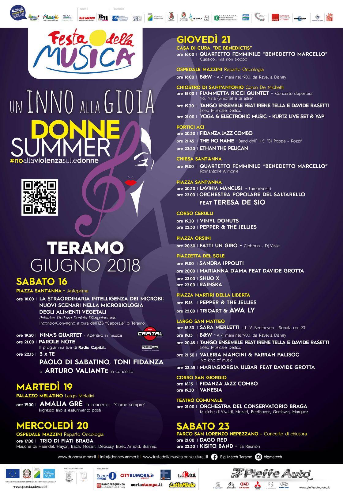 """FESTA DELLA MUSICA 2018 """"Donne Summer"""" - Seconda edizione Teramo 21 giugno"""